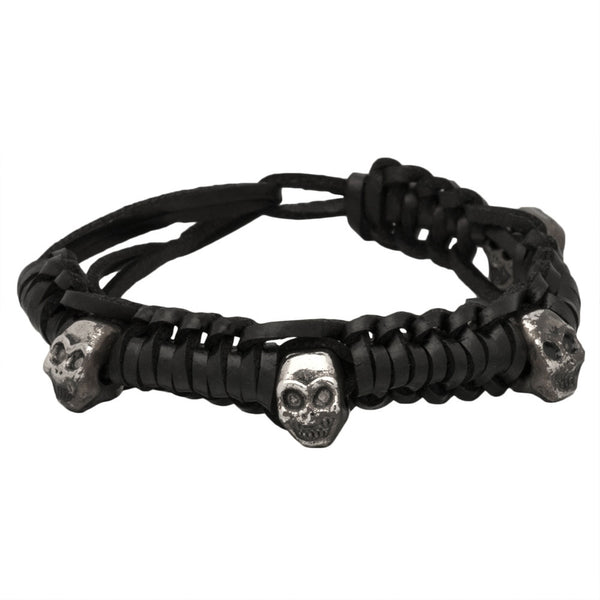 Herringbone Knot Braided With Skull Beads Black Leather Adjustable Bracelets