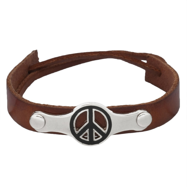 Peace Sign Brown Leather Adjustable Bracelet