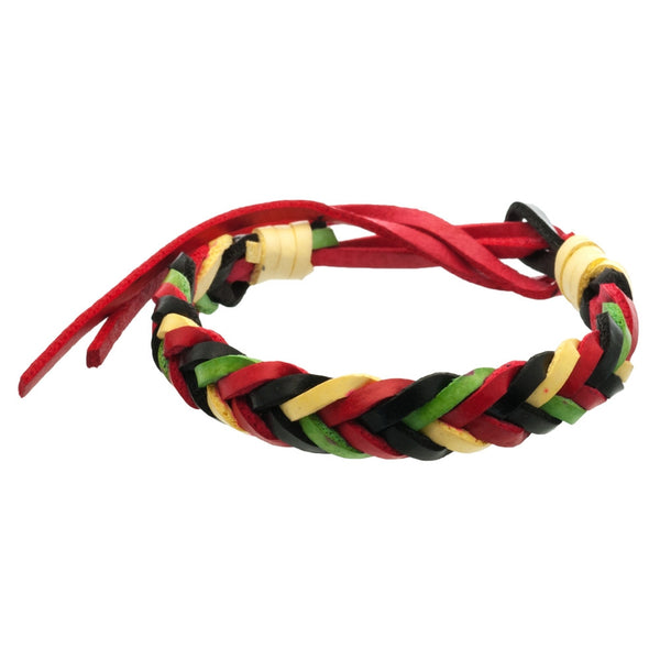 Rasta V-Braid Leather Adjustable Bracelet