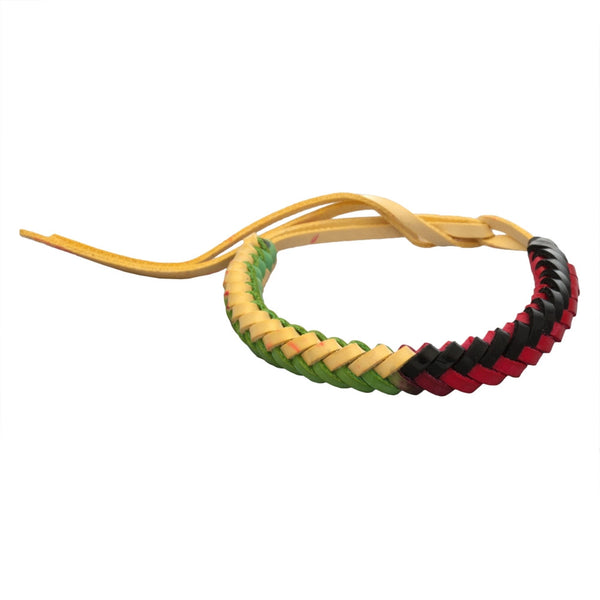 Rasta Herringbone Braid Leather Adjustable Bracelet