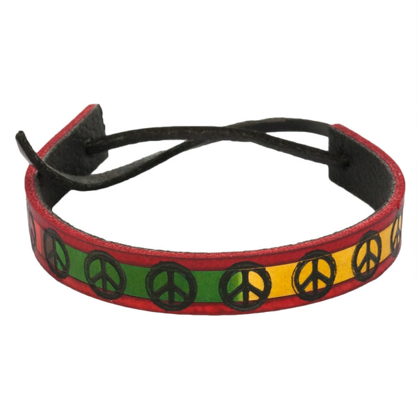 Thin Rasta Peace Sign Leather Adjustable Bracelet