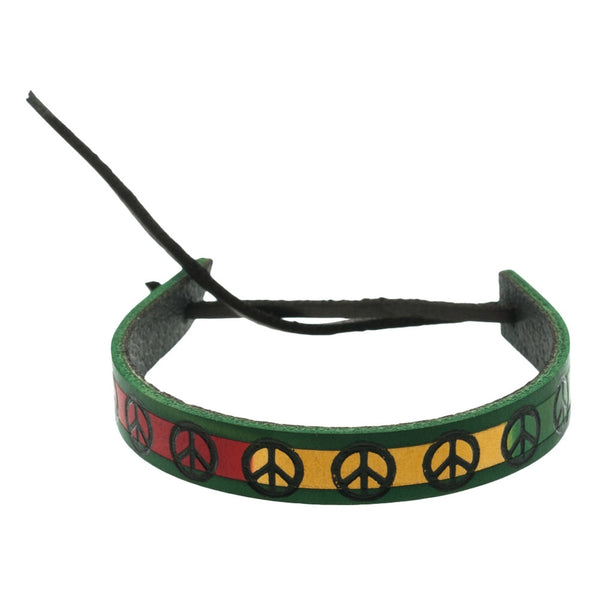 Green Border Rasta Peace Sign Leather Adjustable Bracelet