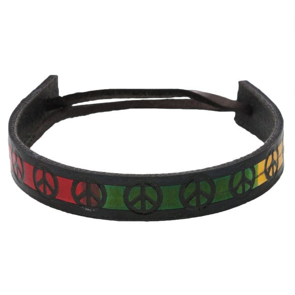 Black Border Rasta Peace Sign Leather Adjustable Bracelet