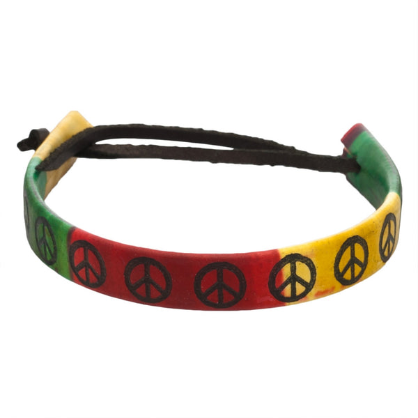 Rasta Band Peace Sign Leather Adjustable Bracelet