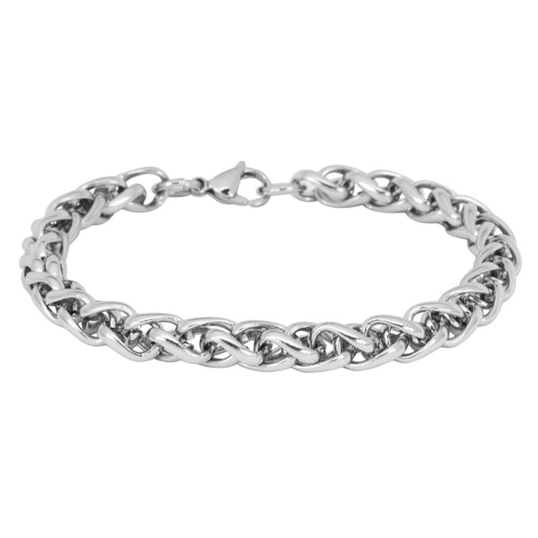 8mm Extra Large Wheat Chain Stainless Steel Bracelet