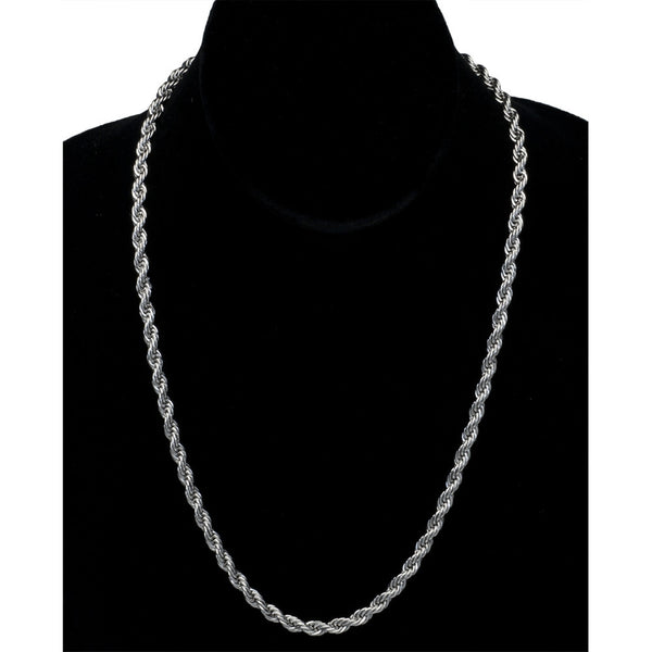 4.5mm Twisted Helix Stainless Steel 20 Chain Necklace