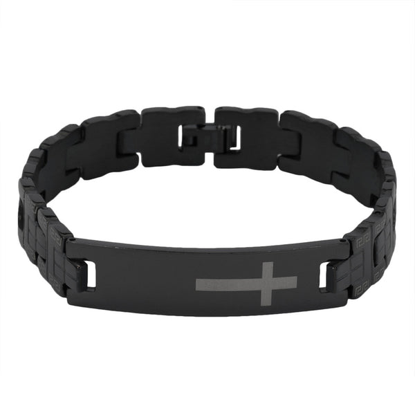 Gold Cross Black Anodized Stainless Steel Link Bracelet