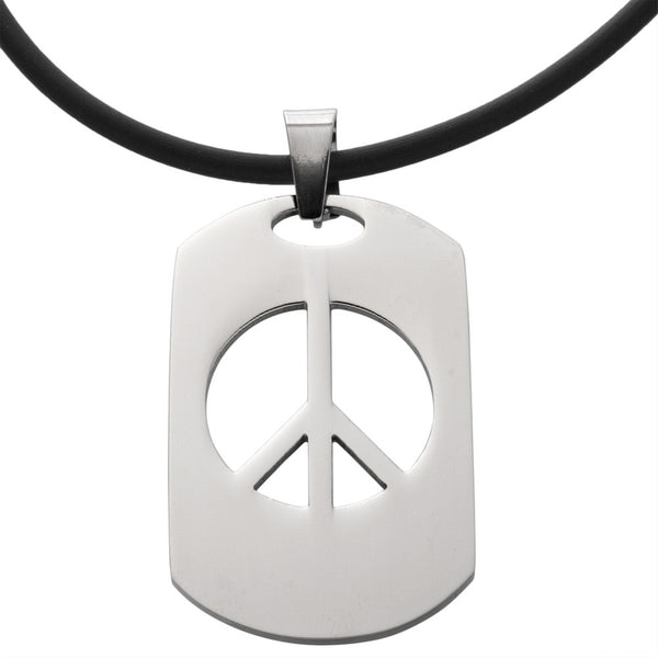 Peace Dogtag Stainless Steel Pendant Cord Necklace 20""