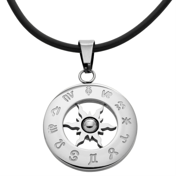 Zodiac Horoscope Stainless Steel Pendant Cord Necklace 20""