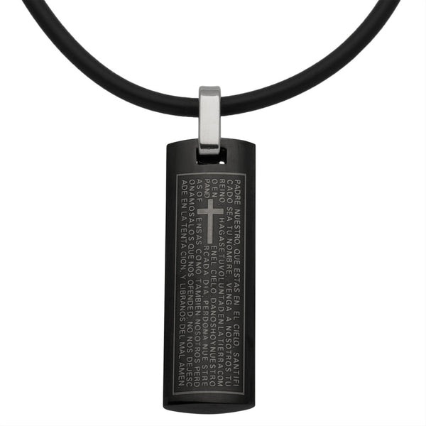 Padre Nuestro Stainless Steel Pendant Cord Necklace