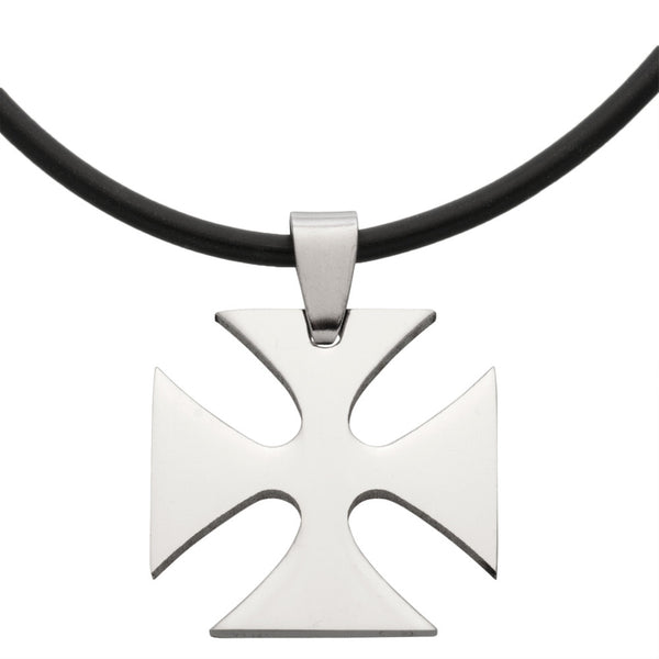 Maltese Cross Stainless Steel Pendant Cord Necklace 20""