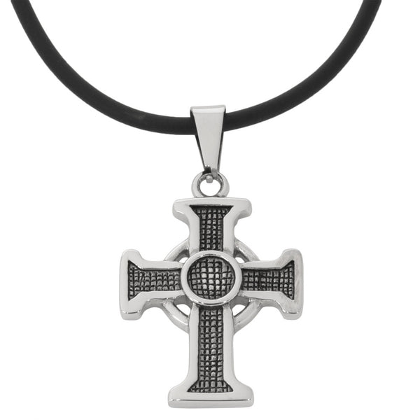 Roman Cross Stainless Steel Pendant Cord Necklace