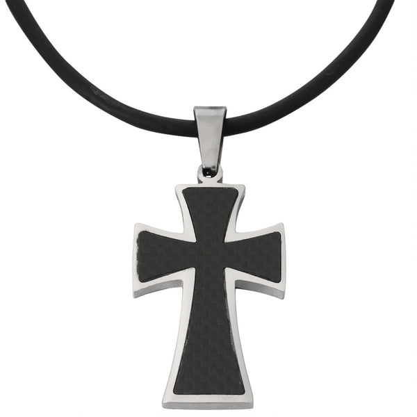 Maltese Cross Carbon Fiber Pendant Cord Necklace