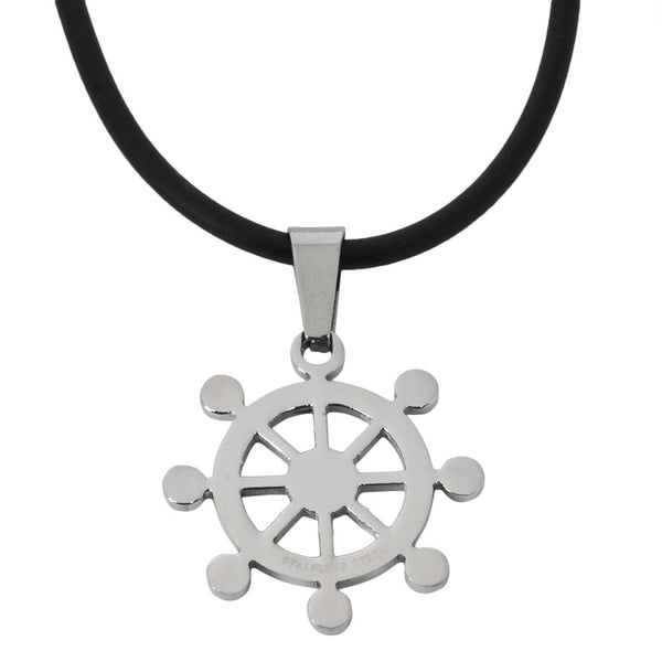 Nautical Wheel Stainless Steel Pendant Cord Necklace