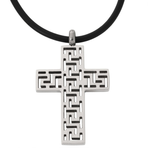 Greek Key Cutout Cross Stainless Steel Pendant Cord Necklace