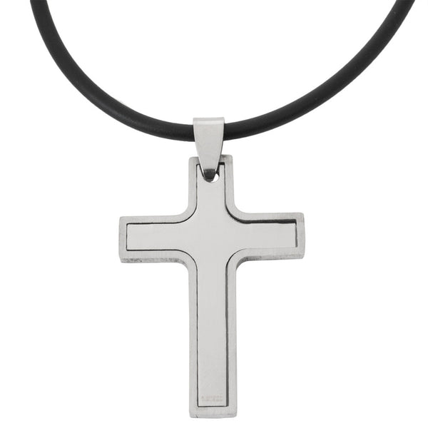 2-Piece Cutout Cross Stainless Steel Pendant Cord Necklace