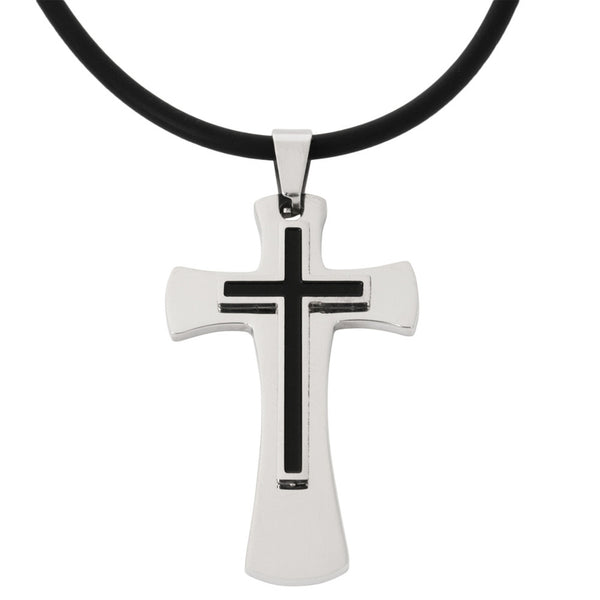 Celtic Black Cross Stainless Steel Pendant Cord Necklace