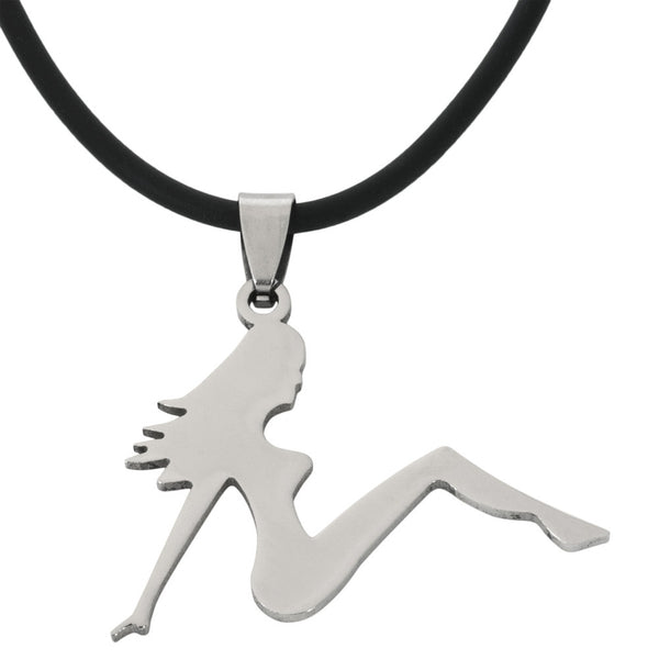 Trucker Girl Stainless Steel Pendant Cord Necklace