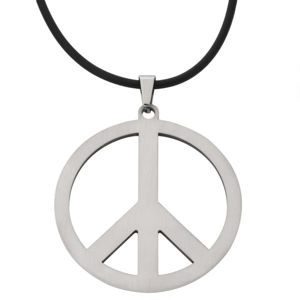 Large Peace Sign Stainless Steel Pendant Cord Necklace