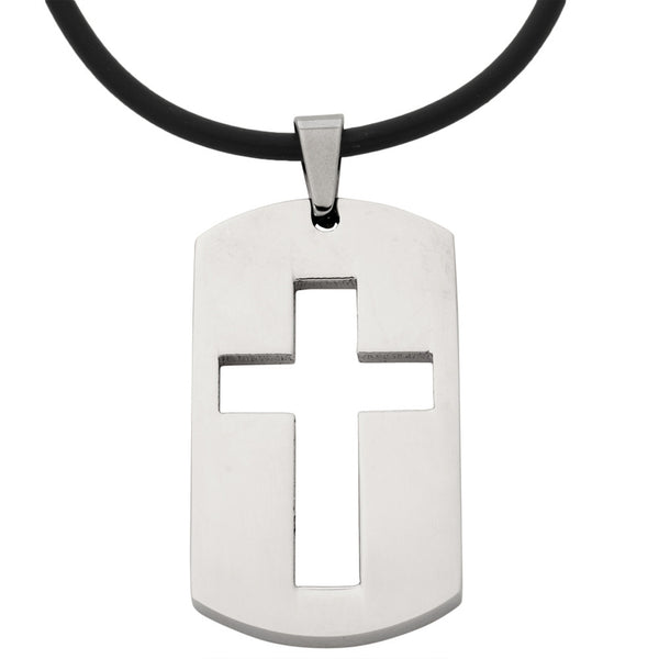 Cutout Cross Dog Tag Stainless Steel Pendant Cord Necklace