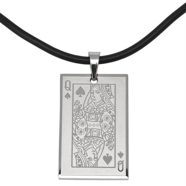 Queen of Hearts Stainless Steel Pendant Cord Necklace