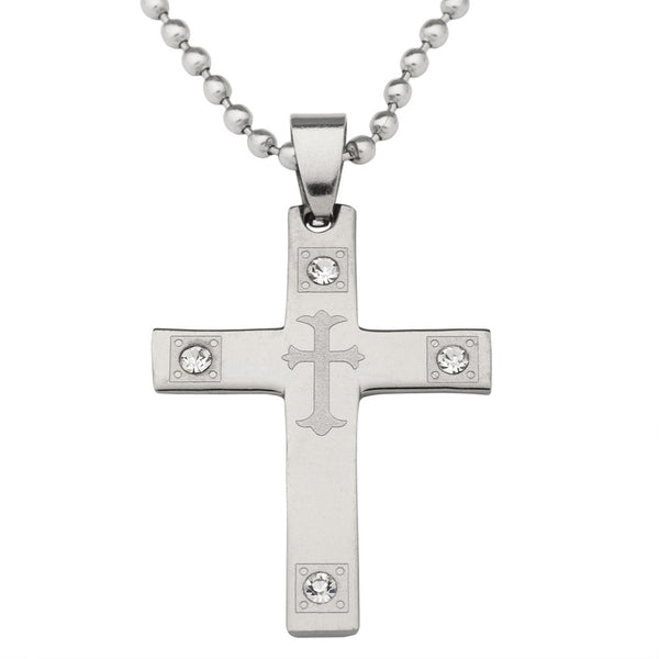 Cross With Crystals Stainless Steel Pendant Ball Chain Necklace