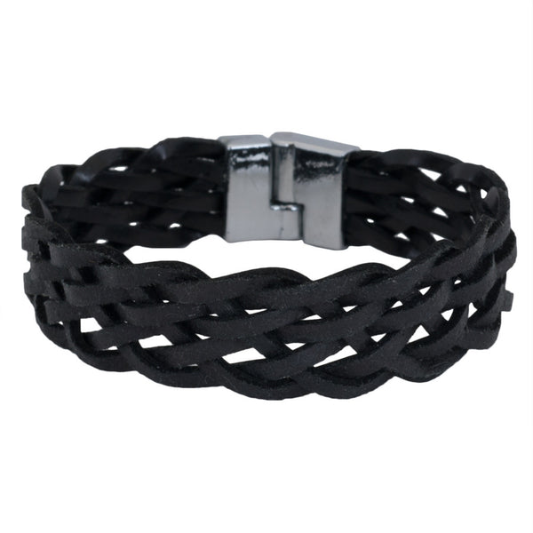 Black Leather Weave Braided Bracelet