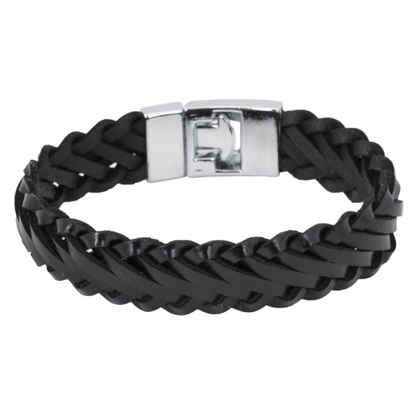 Diagonal Braid Black Leather Bracelet