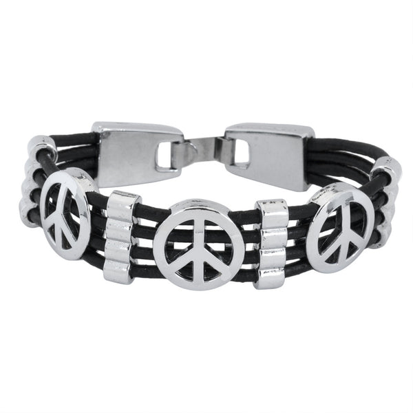 Peace Sign Stainless Steel Cord Bracelet