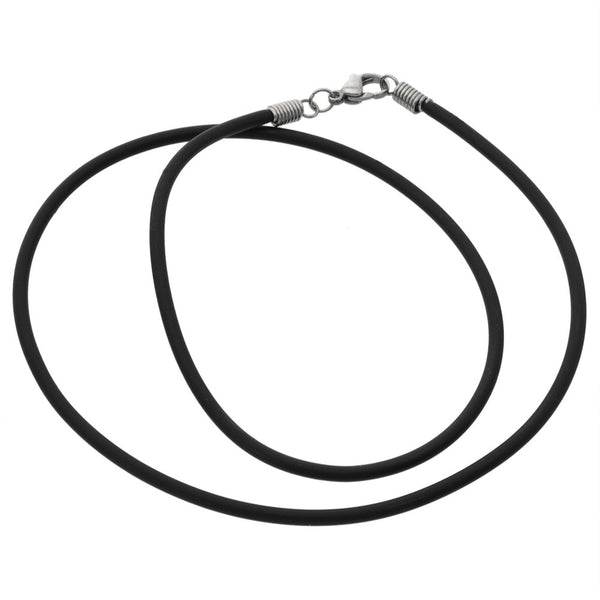2.5mm Black Plain Cord Necklace