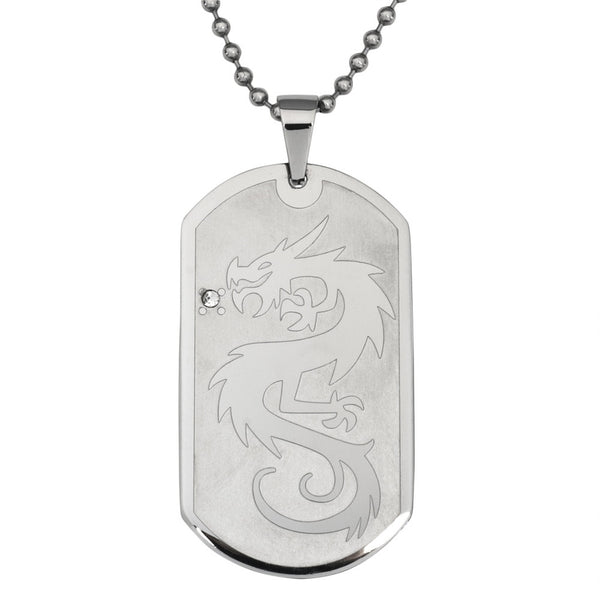 Dragon With Crystal Stainless Steel Dog Tag Ball Chain Necklace