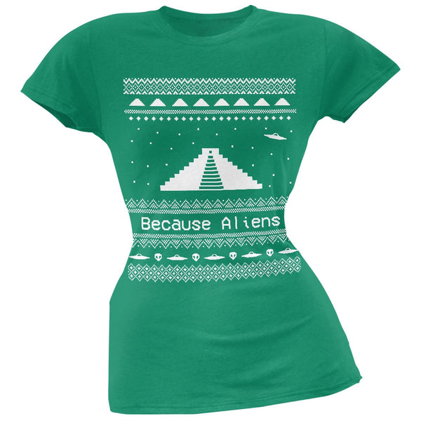 Ancient Aliens Ugly Christmas Sweater Green Juniors T-Shirt
