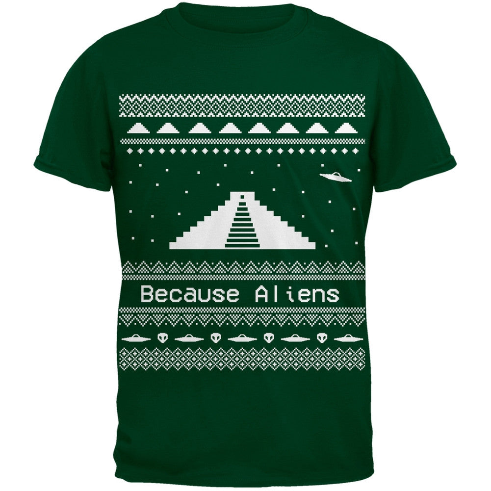 Ancient Aliens Ugly Christmas Sweater Green Youth T-Shirt – OldGlory.com