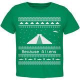 Ancient Aliens Ugly Christmas Sweater Green Toddler T-Shirt