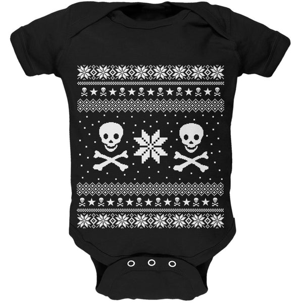 Skull & Crossbones Ugly Christmas Sweater Black Baby One Piece
