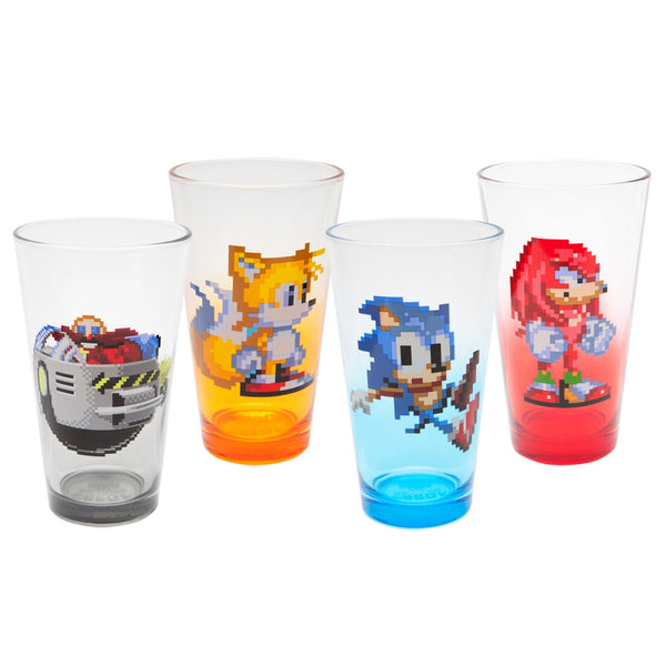 Sonic The Hedgehog - Character Pint Glasses 4 Pack Set