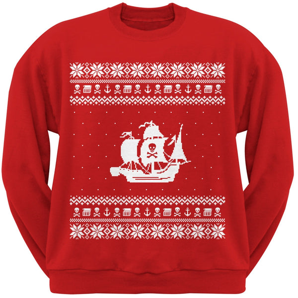 Pirate Ship Ugly Christmas Sweater Black Crew Neck Sweatshirt