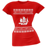 Pirate Ship Ugly Christmas Sweater Black Juniors T-Shirt