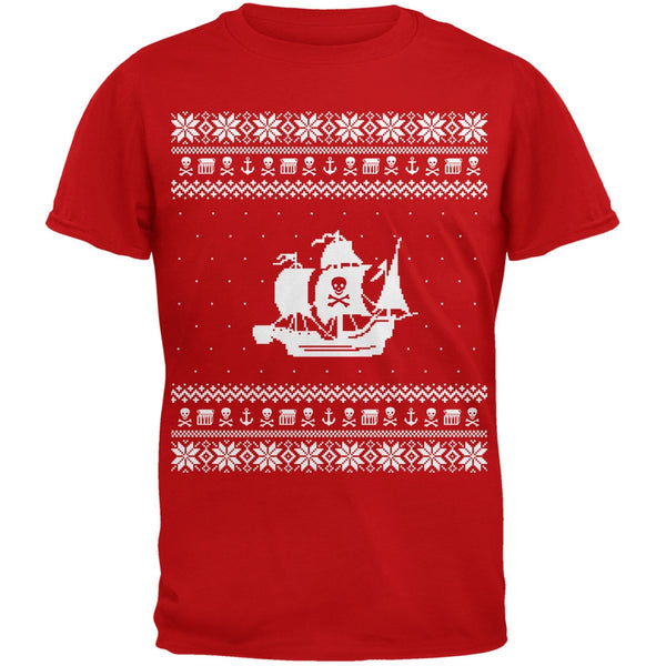 Pirate Ship Ugly Christmas Sweater Red T-Shirt