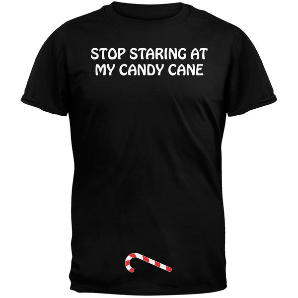 Stop Staring At My Candy Cane Black Adult T-Shirt