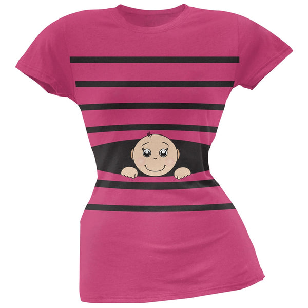 Striped Peeking Baby Pink Soft Juniors T-Shirt