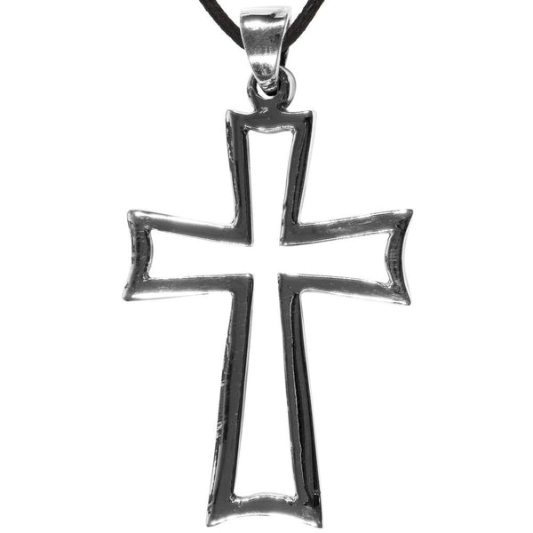 Hollow Cross Sterling Silver Pendant