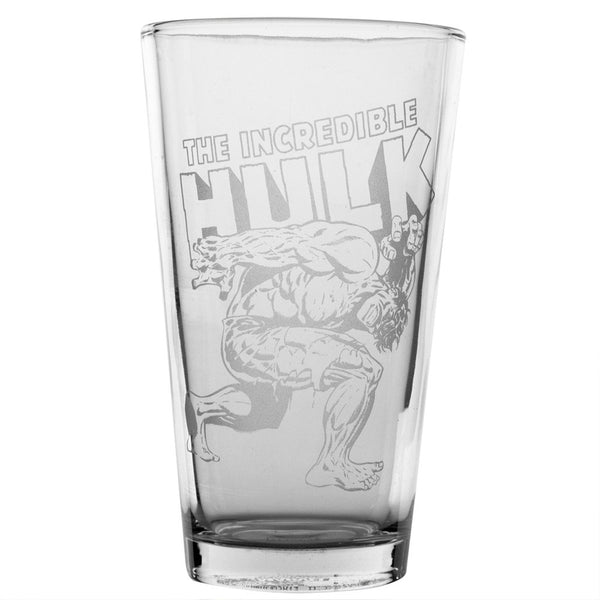 The Incredible Hulk - Stomping Logo Etched Pint Glass
