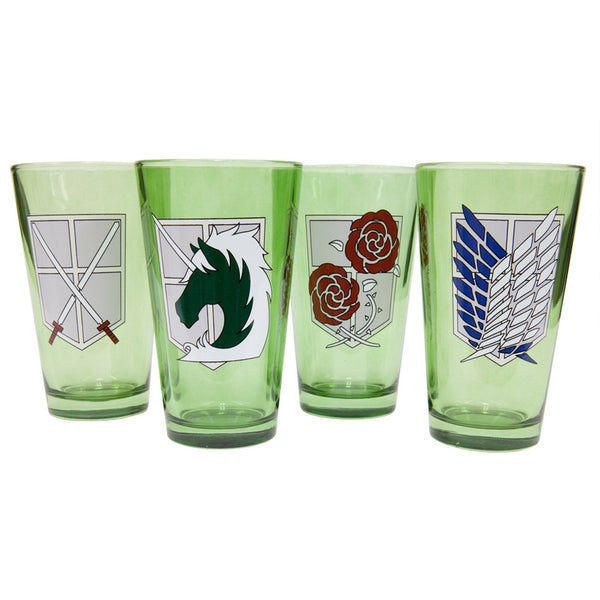 Attack On Titan - Military Badges Pint Glasses 4 Pack Set