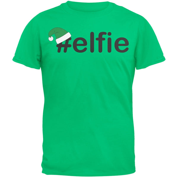 #Elfie Christmas Hashtag Green Adult T-Shirt