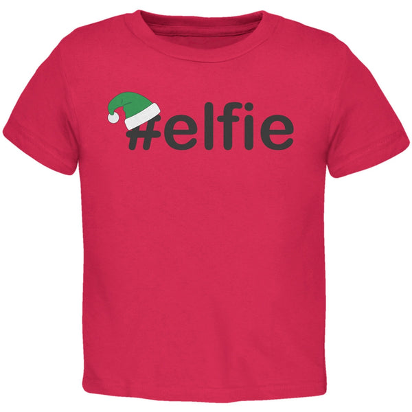 #Elfie Christmas Hashtag Red Toddler T-Shirt