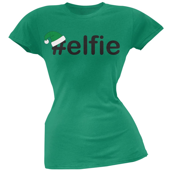 #Elfie Christmas Hashtag Green Soft Juniors T-Shirt