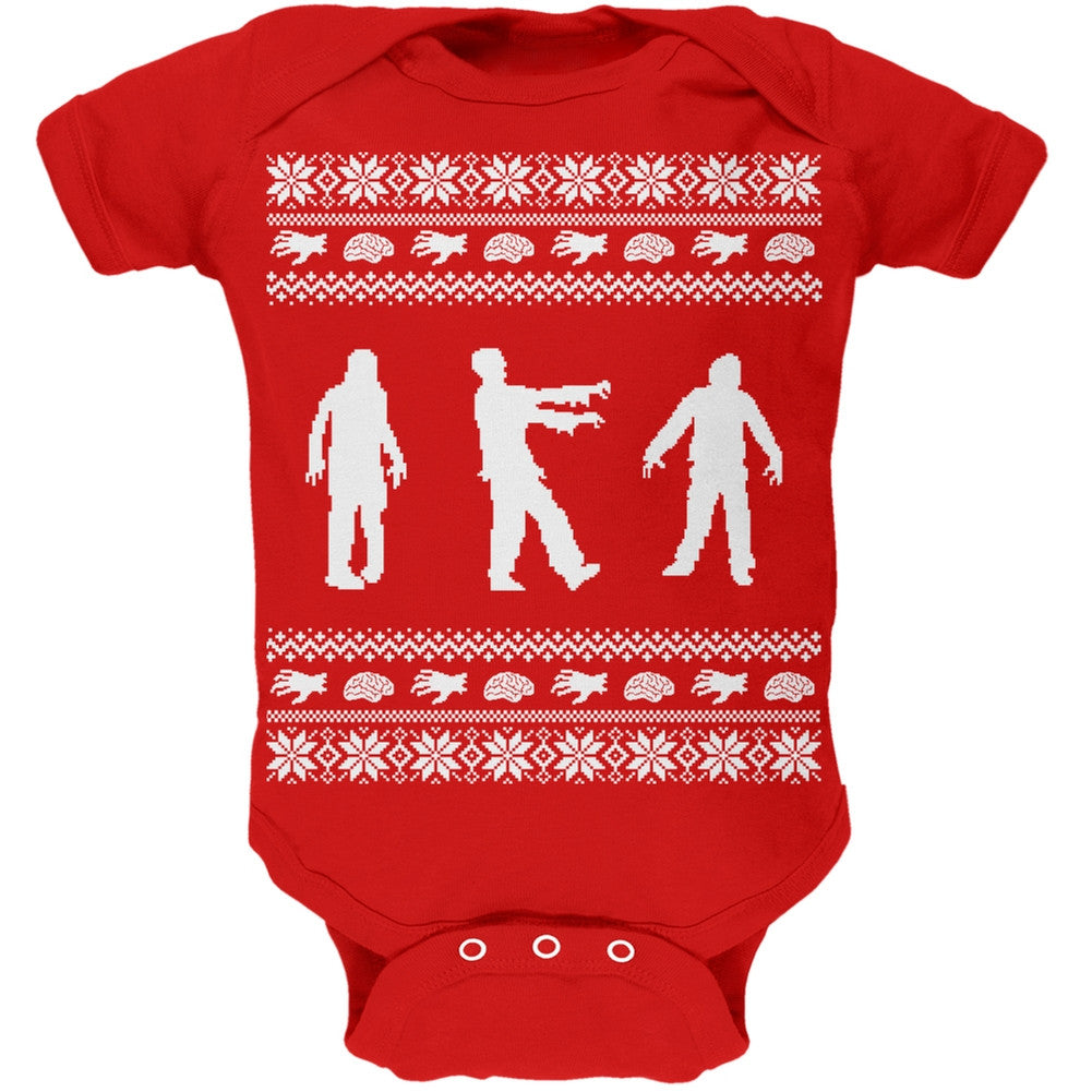 Zombie Ugly Christmas Sweater Red Soft Baby One Piece – OldGlory.com