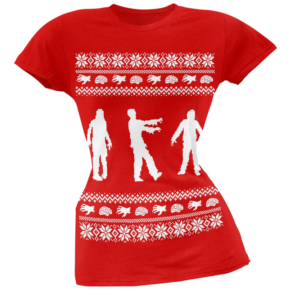 Zombie Ugly Christmas Sweater Red Soft Juniors T-Shirt – OldGlory.com