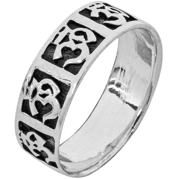 Om Band .925 Sterling Silver Ring